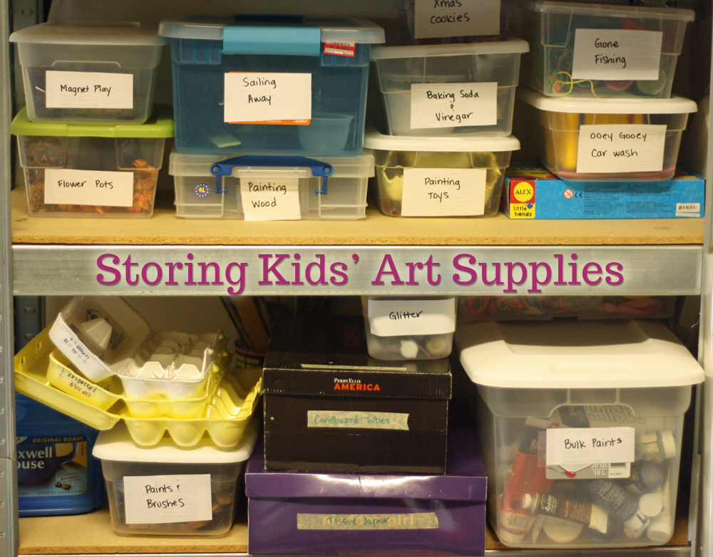 storing kids art supplies