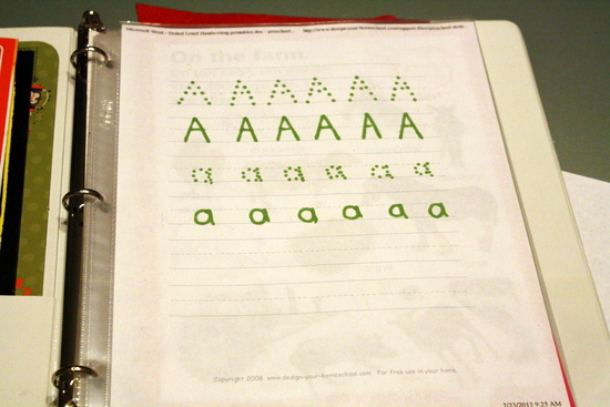 letter tracing sheets